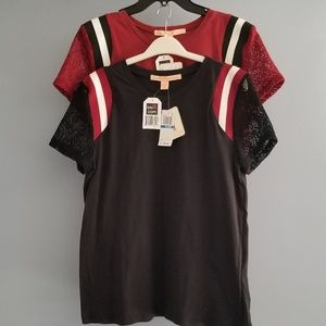 Lace Sleeved Black And Maroon Shirts